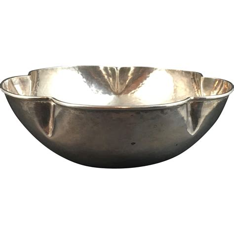 Silver Bowl L by Hammered Sterling Silver Bowl By F Novick From