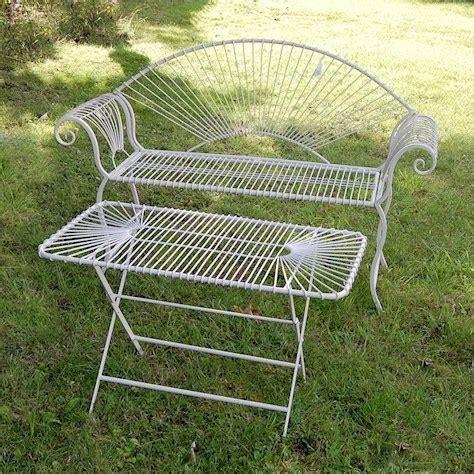 wire bench antique cream wire metal garden bench homegenies