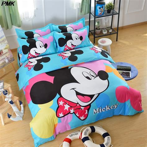 mickey mouse twin bed set 4pcs cartoon mickey bed duvet covet set kids mouse bedding