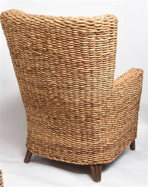 Banana Leaf Armchair by Pair Of Large Woven Banana Leaf Wing Chairs At 1stdibs