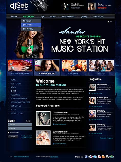 templates for radio website radio station v2 5 joomla template