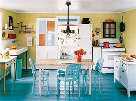 teal and yellow kitchen beachnut lane painted floors