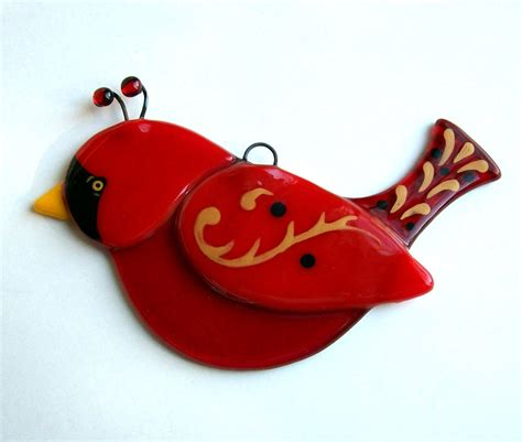fused glass bird suncatcher red cardnial christmas ornament