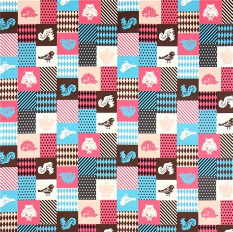 Pink Patchwork Fabric - patchwork animal kokka fabric pink blue squirrel owl