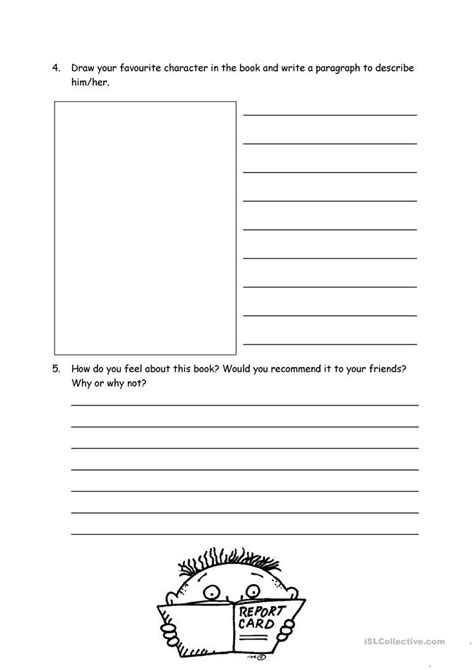 fiction book report form book report form for fiction worksheet free esl