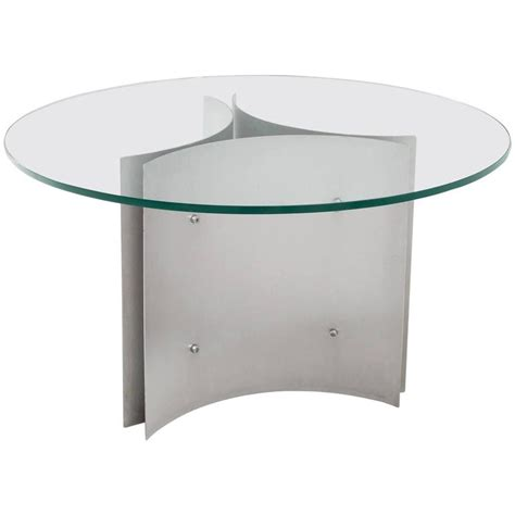 Glass Dining Room Table Stand Pedestal Dining Table In Steel And Glass For Sale At