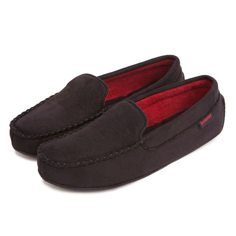 men s house shoes isotoner mens suedette pillowstep moccasin slippers ebay