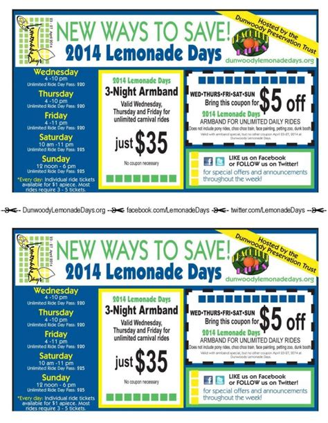 lemonade days unlimited carnival ride coupons the aha