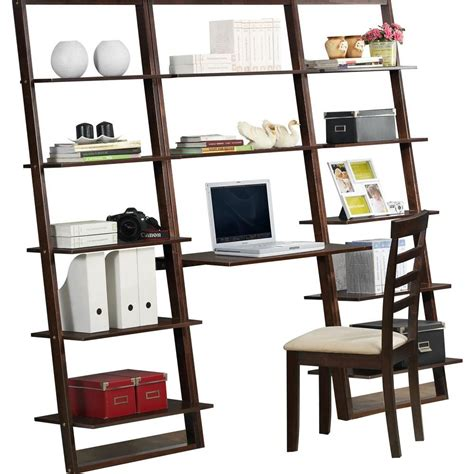 4d concepts wall desk and 12 shelf bookcase in