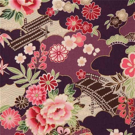 Wallpaper Black Flower 5m purple violet japanese flower fabric with gold by kokka