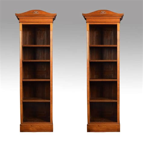 Narrow Bookcases For Sale Pair Of Walnut Narrow Open Bookcases For Sale At 1stdibs
