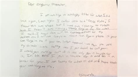 Apology Letter Joke After Prank 911 Call Sixth Grader Sends Apology Note To