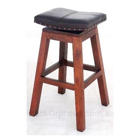 timber stool leather saddle h76cm black orpheus