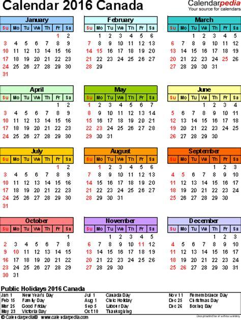 Calendar 2018 With Holidays Ontario Canada Calendar 2016 Free Word Calendar Templates