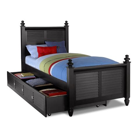beds twin seaside twin bed with trundle black american signature furniture