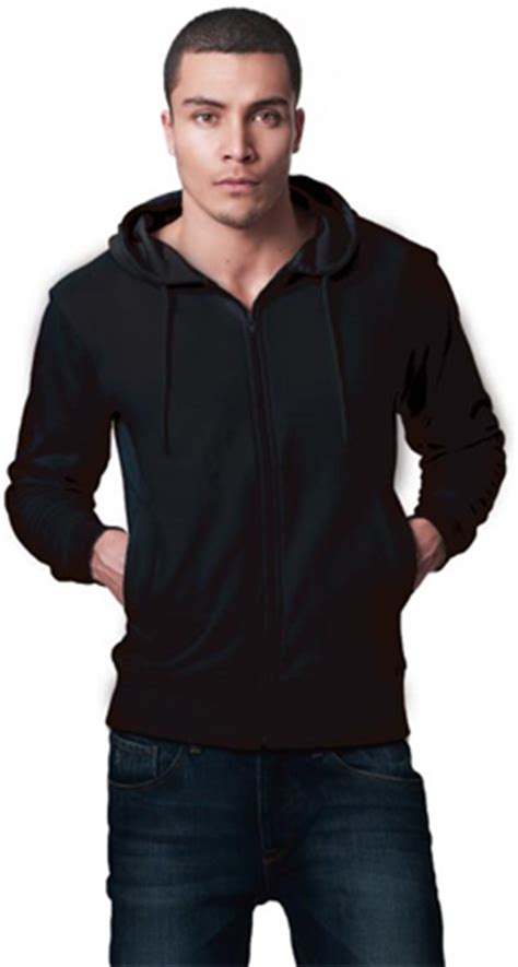 mens organic hoodie with zip fair trade in black and