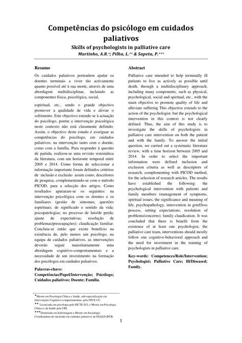(PDF) Competências do psicólogo em cuidados paliativos