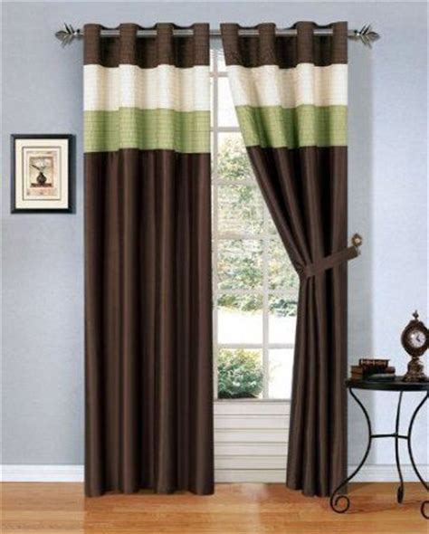 Brown And Green Curtains Designs Modern Green Brown Beige Faux Silk Taffeta Grommet Window Curtain Drape Set 108 By 84