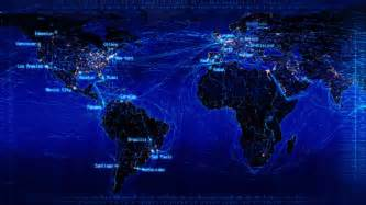 world lights world map with connections and city lights loopable world