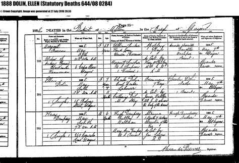 Birth Records Scotland Glasgow Eleanor Dolan B 23 May 1880 Paisley Renfrewshire Scotland United Kingdom D 6 May