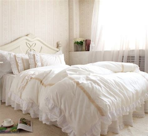 off white bedding fadfay home textile luxury off white lace ruffle bedding