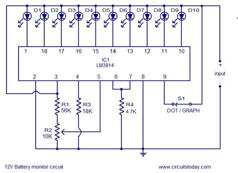 led indicator circuit diagram led circuit level indicator 12v battery circuit diagram