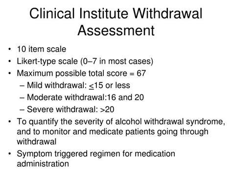 Detox Assessment by Ppt Ciwa Protocol Fraser Health Powerpoint Presentation