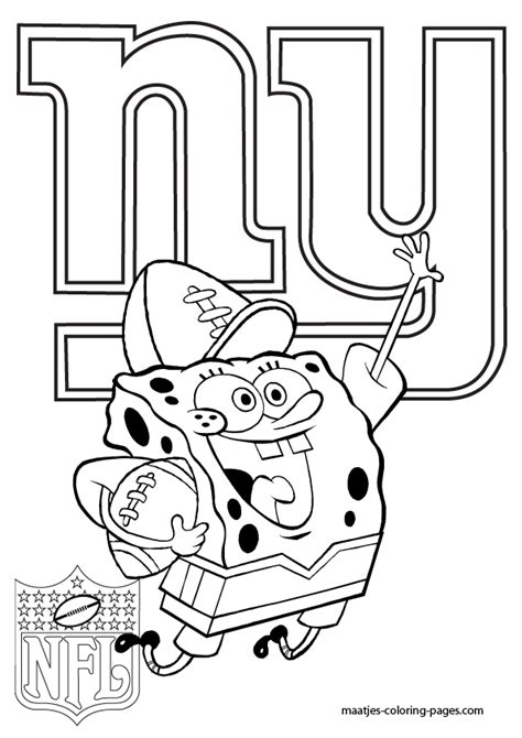 spongebob nfl coloring pages new york giants spongebob coloring pages