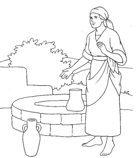 free coloring page woman at the well imprime le dessin colorier de femme