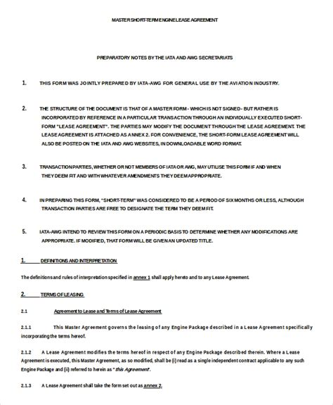 term lease agreement template term rental agreement 10 free word pdf documents