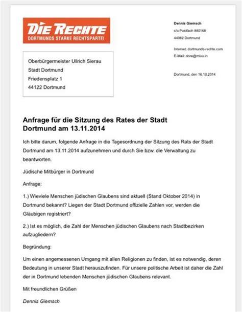 Die Anfrage Brief Dortmund Auf Judenjagd Ruhrbarone