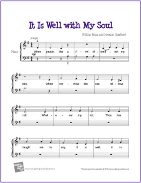 printable lyrics it is well with my soul it is well with my soul free beginner piano sheet music