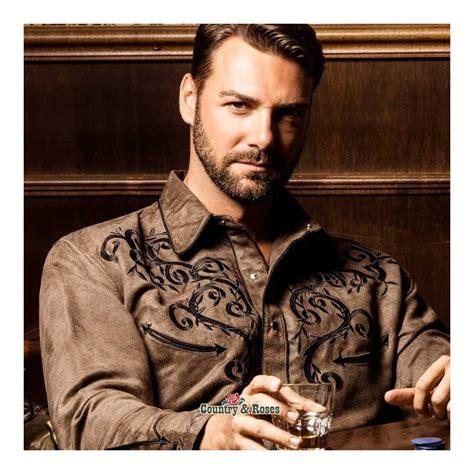 imagenes camisas vaqueras hombre elegante camisa marr 243 n estilo country bordados negros en