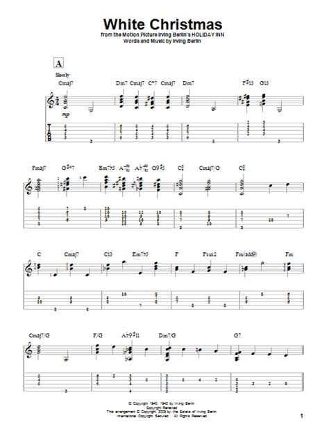 white christmas sheet  irving berlin solo guitar tab