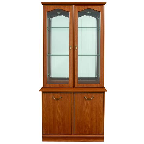 teak display cabinet wood composite 2 glazed glass