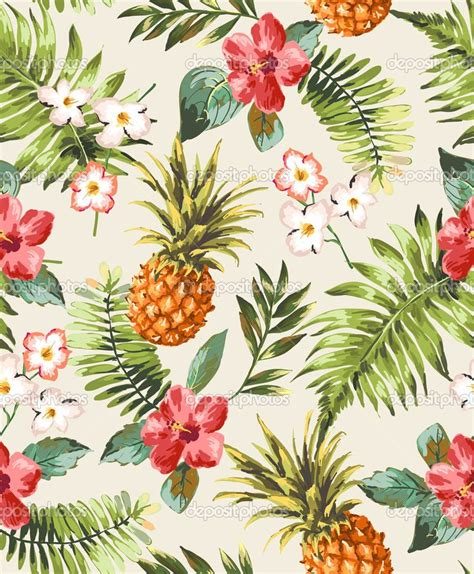 hawaiian pattern iphone wallpaper vintage seamless tropical flowers with pineapple vector
