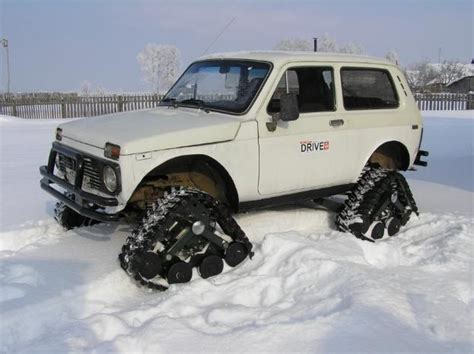 lada con timer wheeltracks made from tread cut from mud tires for