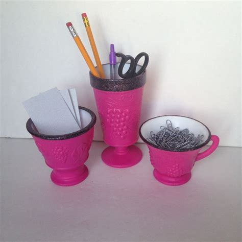 Pink Office Desk Accessories Pink Black Desk Accessories Office Supplies Vanity Accessories Pencil Holder Business Card