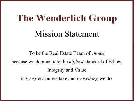 Mission Statement Real Estate Mission Statement Template
