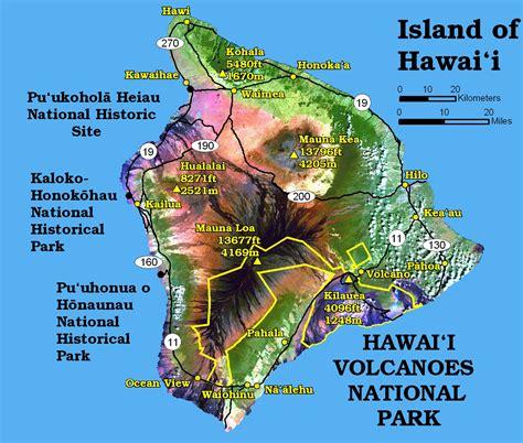 map of big island hawaii hawaii volcanoes map hawaii national volcanoes park mappery