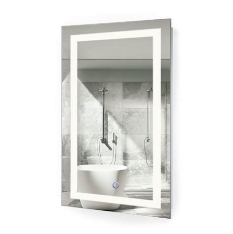 led bathroom mirror defogger dimmer vertical 18 quot l icon18 led vanity mirror 18 x30 bathroom lighted mirror