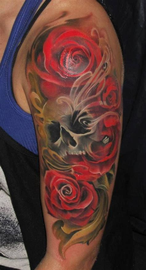 roses and skull sleeve tattoos