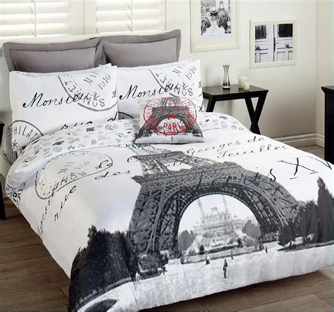 bedroom covers paris eiffel tower comforter set 3pcs double bed