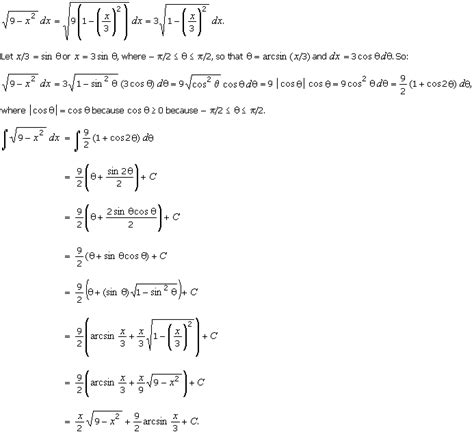 10 5 the inverse trigonometric substitution
