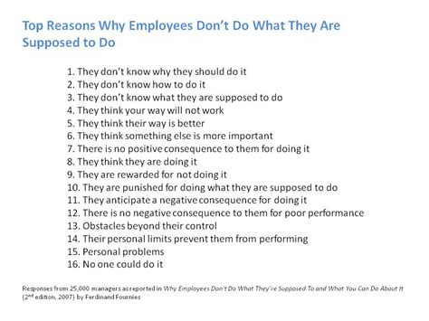 top reasons why employees don t do what they are supposed