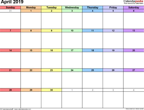Calendar 2019 April April 2019 Calendars For Word Excel Pdf