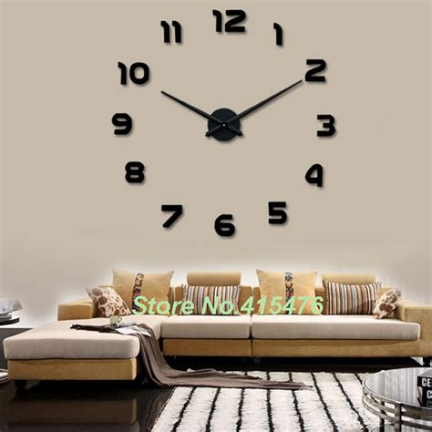 unique home decoration large wall clock 3d sticker big watch home decor unique
