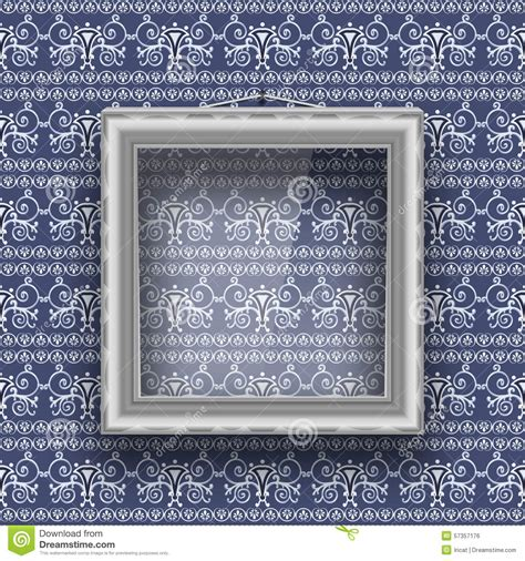 frame patterned wallpaper empty square frame with glass on the wall with patterned