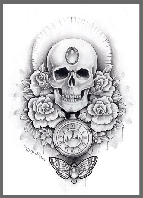 flower and skull tattoo design grey ink skull and moth tattoos design