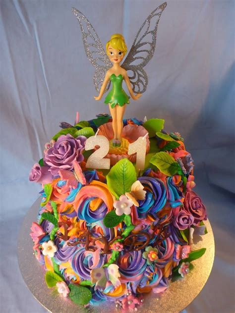 Rainbow Buttercream Uk15 1 tinkerbell cake this multi colour tinkerbell cake was made for a special 21st birthday it was a